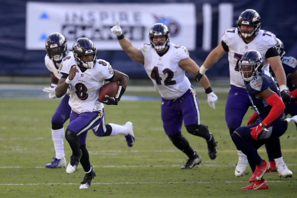Quarterback Lamar Jackson led the Baltimore Ravens to a wild-card weekend win over the Tennessee Titans. (Photo by Andy Lyons/Getty Images)