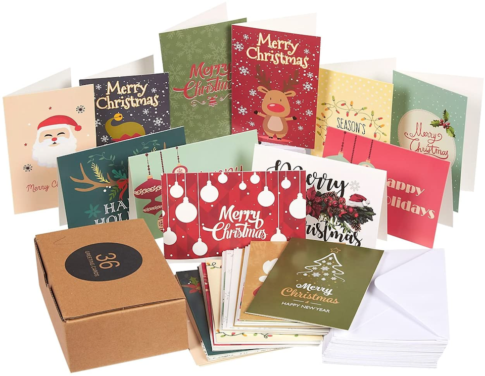 """<h3><strong>Amazon</strong></h3><br>Not everyone wants to plaster their face or name across the front of a card — and that's exactly where Amazon's section of clever, cute, and quirky holiday card sets come into play. This affordably bundled pack by Canopy Street comes complete with envelopes <em>and</em> high customer praise (""""A PERFECT card for the winter season""""). <br><br>And if you are looking for something a little more personalized, there's a stocked page of <a href=""""https://www.amazon.com/stores/node/19887614011"""" rel=""""nofollow noopener"""" target=""""_blank"""" data-ylk=""""slk:customizable address labels"""" class=""""link rapid-noclick-resp"""">customizable address labels</a> in a wide array of festive styles. <br><br>Shop <a href=""""https://www.amazon.com/Holiday-Cards-Stationery/"""" rel=""""nofollow noopener"""" target=""""_blank"""" data-ylk=""""slk:Amazon"""" class=""""link rapid-noclick-resp"""">Amazon</a><br><br><strong>Best Paper Greetings</strong> Holiday Greeting Cards Box Set (36), $, available at <a href=""""https://amzn.to/2FQzwjv"""" rel=""""nofollow noopener"""" target=""""_blank"""" data-ylk=""""slk:Amazon"""" class=""""link rapid-noclick-resp"""">Amazon</a>"""