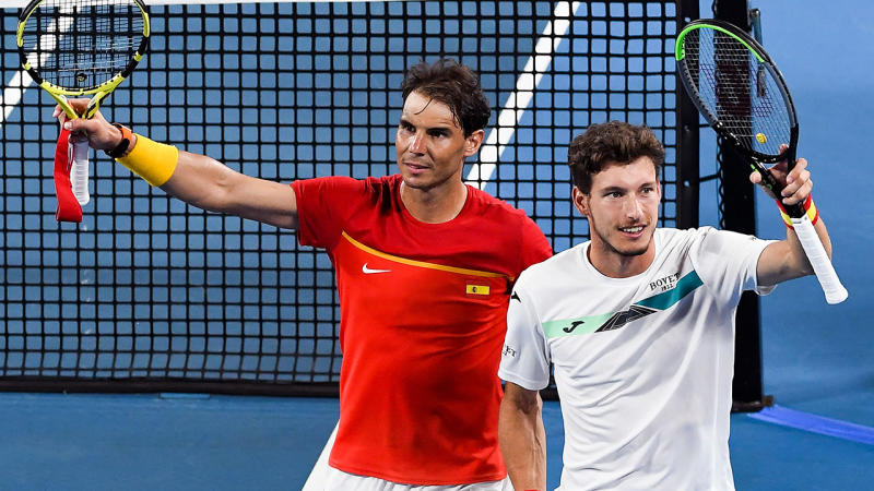 Rafael Nadal and Pablo Carreno Busta, pictured here after their victory in the doubles.