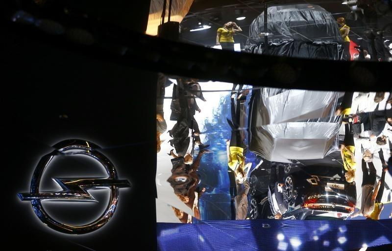A reflection of the Opel stall is pictured during the media day at the Frankfurt Motor Show (IAA) in Frankfurt