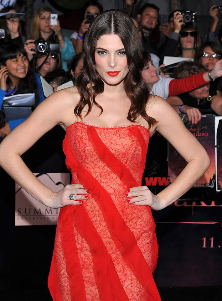 "Ashley Greene wows at the red carpet premiere for ""The Twilight Saga: Breaking Dawn – Part 1"" in Los Angeles, CA. (Photo by Vince Bucci/Yahoo!)"