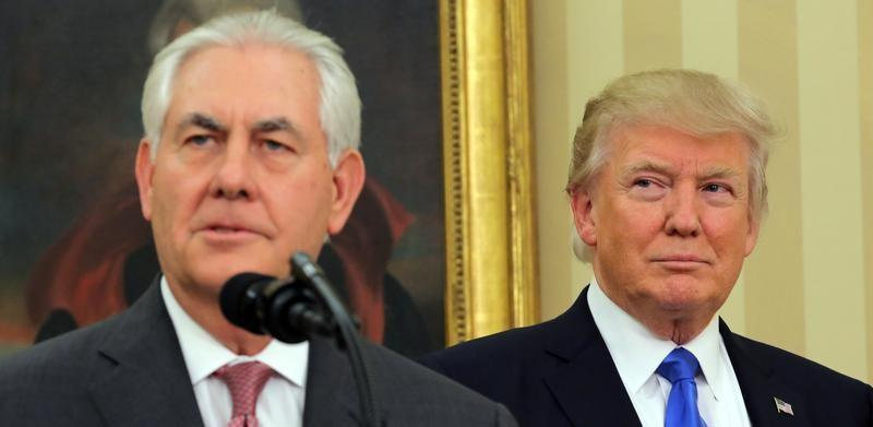 U.S. President Donald Trump attends the swearing-in ceremony of the new U.S. Secretary of State Rex Tillerson at the Oval Office of the White House in Washington, DC