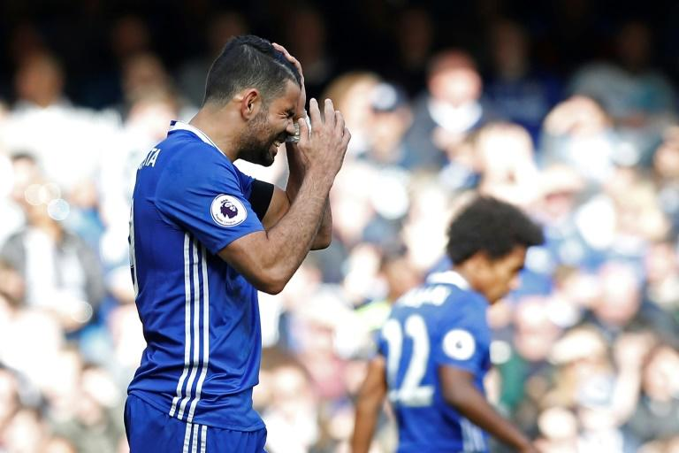 Chelsea's Diego Costa reacts to a missed chance during their English Premier League match against Crystal Palace, at Stamford Bridge in London, on April 1, 2017