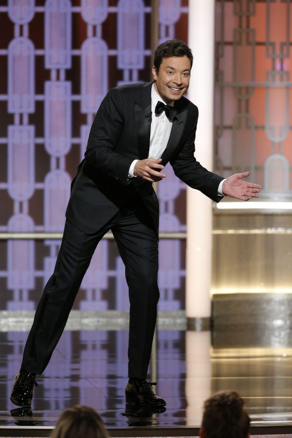 """<p>Not even 30 seconds in, technical difficulties began to ravage the Golden Globes in 2017. To Jimmy's credit, <a href=""""https://twitter.com/VanityFair/status/818271663854714880?ref_src=twsrc%5Etfw%7Ctwcamp%5Etweetembed%7Ctwterm%5E818271663854714880&ref_url=https%3A%2F%2Fwww.vanityfair.com%2Fhollywood%2F2017%2F01%2Fgolden-globes-2017-jimmy-fallon-monologue-teleprompter"""" rel=""""nofollow noopener"""" target=""""_blank"""" data-ylk=""""slk:the TV host did the best he could"""" class=""""link rapid-noclick-resp"""">the TV host did the best he could</a> trying to entertain the audience while going off script. But the technological fail led to <em>The</em> <em>Tonight Show</em> star fumbling for the first few minutes. Luckily, the monitor problem eventually fixed itself, with Jimmy cleverly quipping at the end """"I'm happy I didn't trip already.""""</p>"""