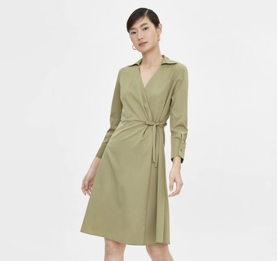 Side Wrap A Line Dress - Green. (PHOTO: Pomelo)