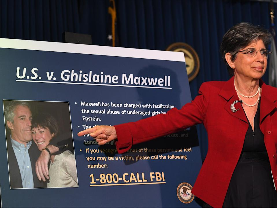 Acting US Attorney for the Southern District of New York Audrey Strauss announces charges against Ghislaine Maxwell during a press conference in New York City on 2 July 2020 (JOHANNES EISELE/AFP via Getty Images)