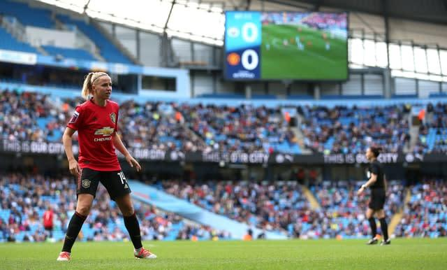 Manchester City's FA Women's Super League derby clash against Manchester United attracted a crowd of more than 31,000 to the Etihad Stadium (Nigel French/PA)