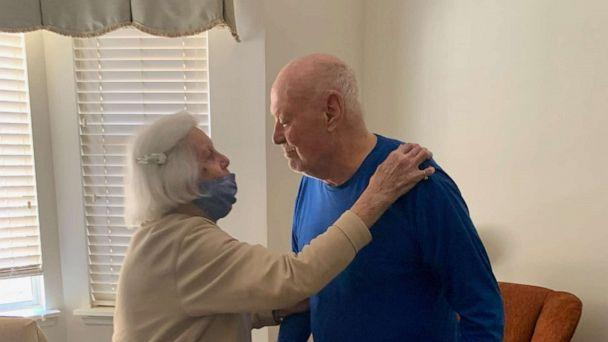 PHOTO: Virginia, 95, and Jack Byrne, 94, pictured, were able to celebrate their 72nd wedding anniversary together after spending more than a year apart. (Rosemary Byrne)