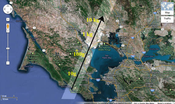 Projected band (light area) where meteorites of different size may have fallen over Marin and Sonoma counties from an Oct. 17, 2012 meteor.