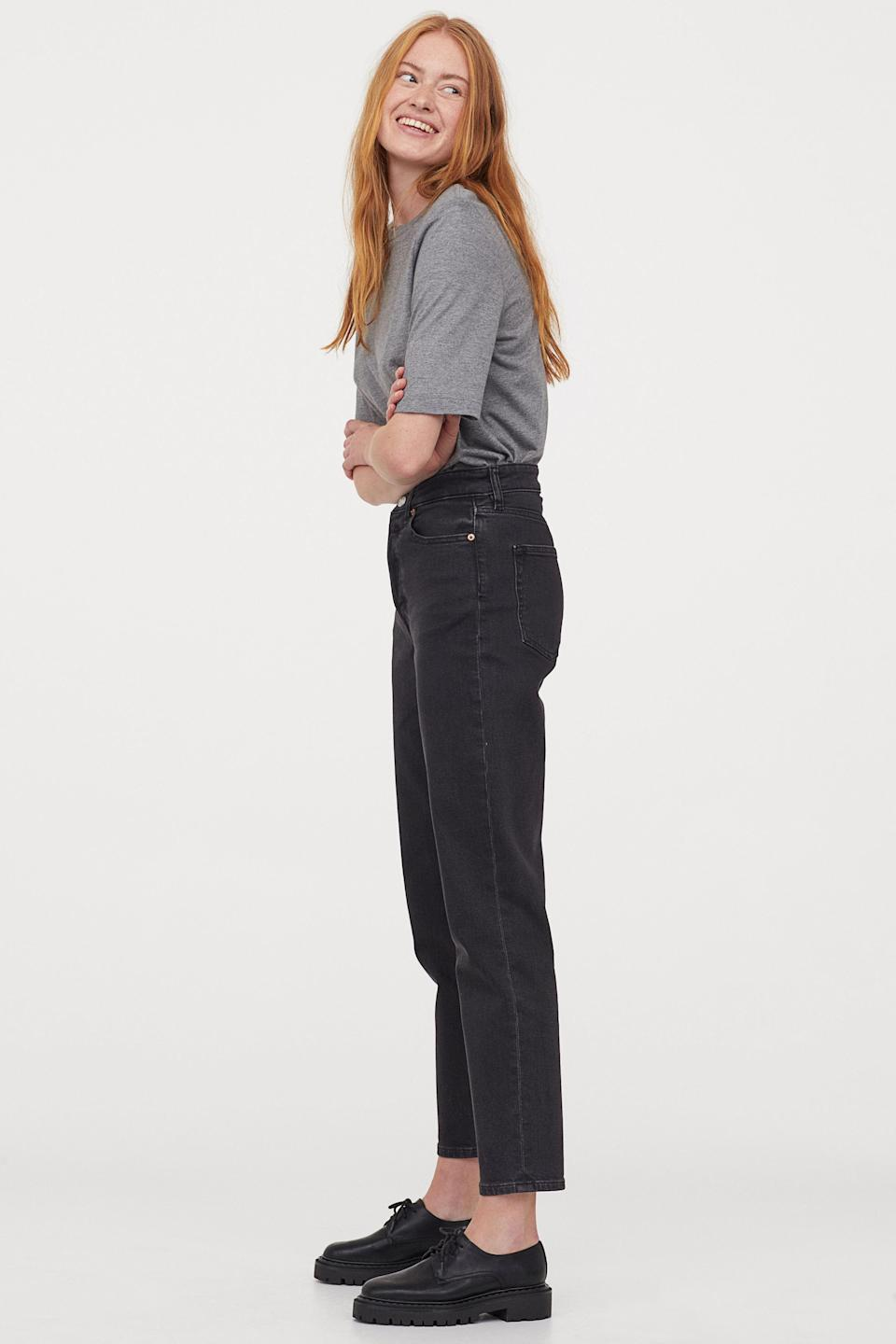 """<br><br><strong>H&M</strong> Mom High Ankle Jeans, $, available at <a href=""""https://go.skimresources.com/?id=30283X879131&url=https%3A%2F%2Fwww2.hm.com%2Fen_us%2Fproductpage.0714790028.html"""" rel=""""nofollow noopener"""" target=""""_blank"""" data-ylk=""""slk:H&M"""" class=""""link rapid-noclick-resp"""">H&M</a>"""