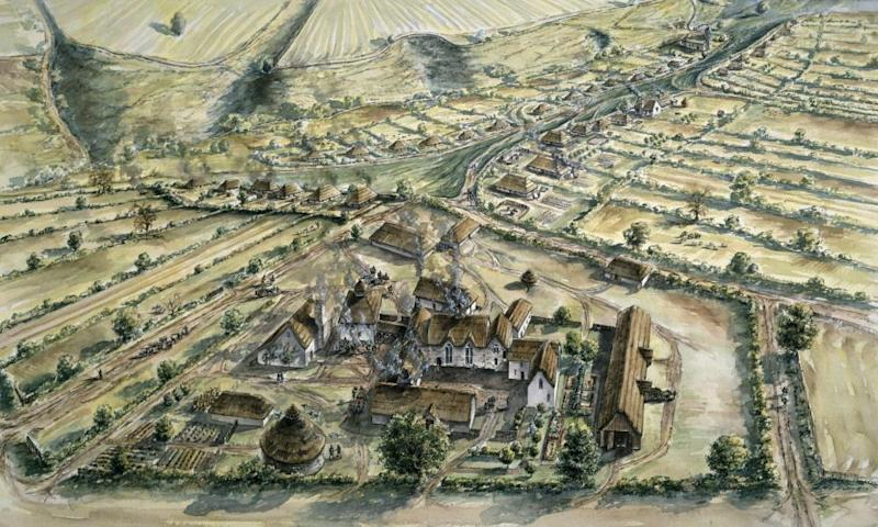 An illustration of the medieval village of Wharram Percy in north Yorkshire, where human bones were excavated.