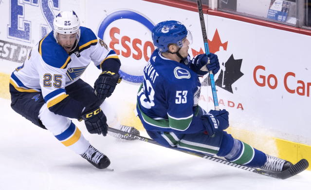Vancouver Canucks center Bo Horvat (53) fights for control of the puck with St. Louis Blues defenseman Chris Butler (25) during the second period of an NHL hockey game Thursday, Dec. 20, 2018, in Vancouver, British Columbia. (Jonathan Hayward/The Canadian Press via AP)