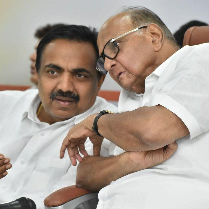 NCP Maharashtra chief and cabinet minister Jayant Patil with NCP president Sharad Pawar (Photo: Facebook )