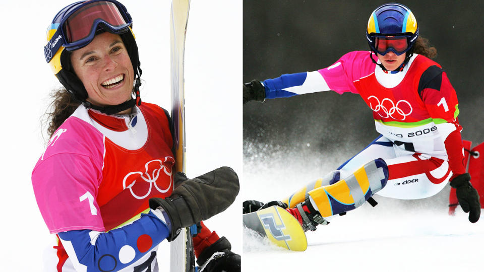 Julie Pomagalski, pictured here in action at the 2006 Winter Olympics.
