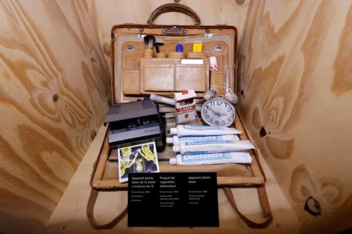 """FILE PHOTO: Q'S Bag Of Tricks is displayed during a press presentation of the exhibition """"The Designing 007: Fifty Years of Bond Style"""" at the Grande Halle de la Villette in Paris"""