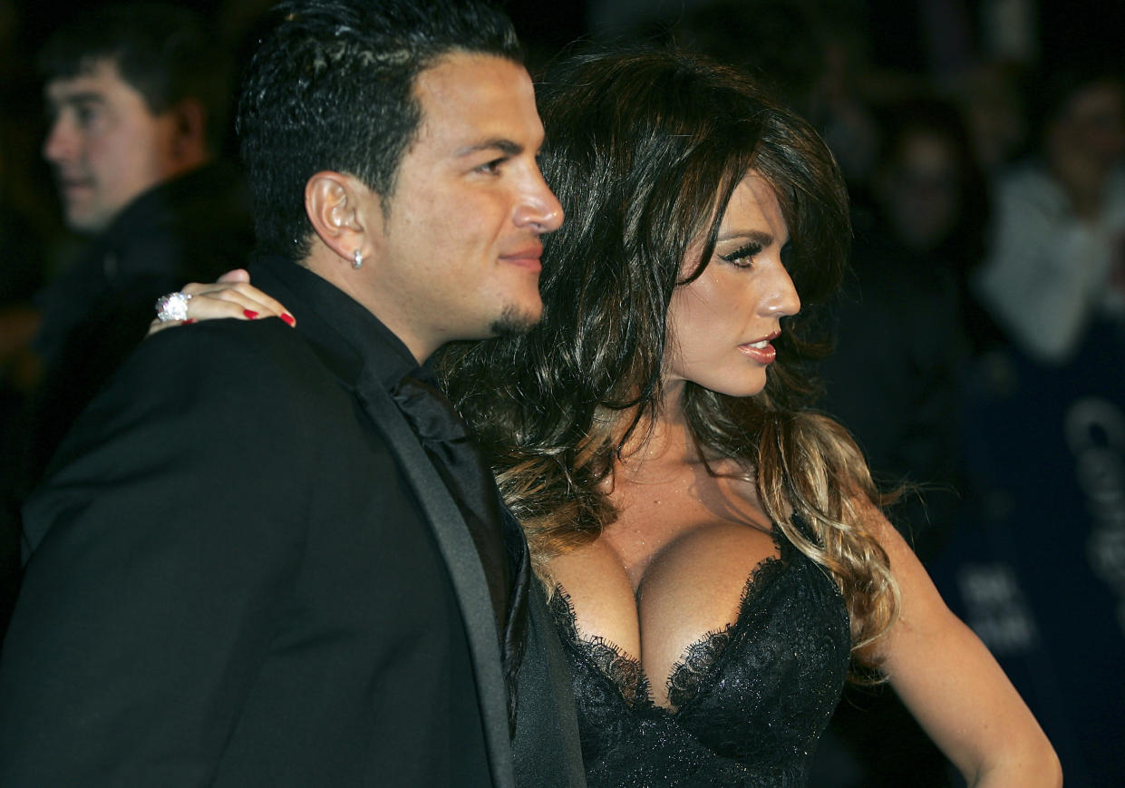 LONDON - OCTOBER 25:  Katie Price (aka Jordan) and Peter Andre arrive at the National Television Awards 2005 at the Royal Albert Hall on October 25, 2005 in London, England.  (Photo by MJ Kim/Getty Images)