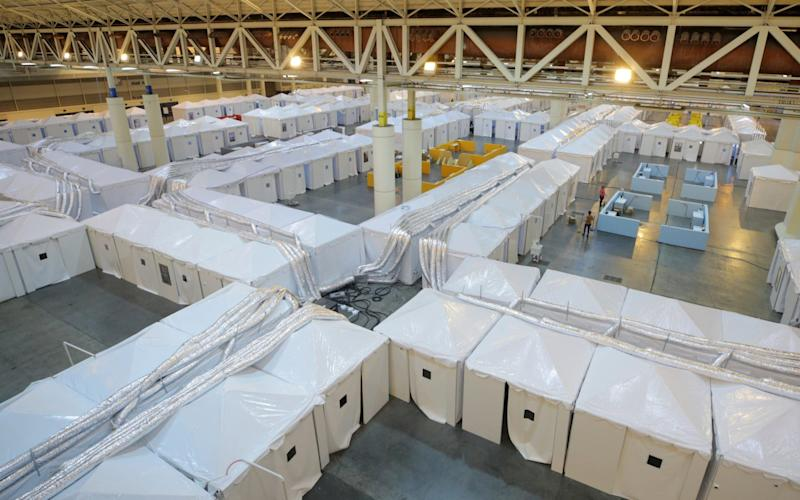 The field hospital setup for coronavirus patients at the Ernest N. Morial Convention Center in New Orleans, Louisiana - Getty