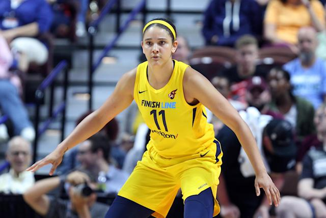 "<a class=""link rapid-noclick-resp"" href=""/wnba/teams/ind"" data-ylk=""slk:Indiana Fever"">Indiana Fever</a> forward <a class=""link rapid-noclick-resp"" href=""/wnba/players/5195/"" data-ylk=""slk:Natalie Achonwa"">Natalie Achonwa</a> documented her team's circuitous travel from Seattle to Atlanta to Indianapolis. (Photo by M. Anthony Nesmith/Icon Sportswire via Getty Images)"
