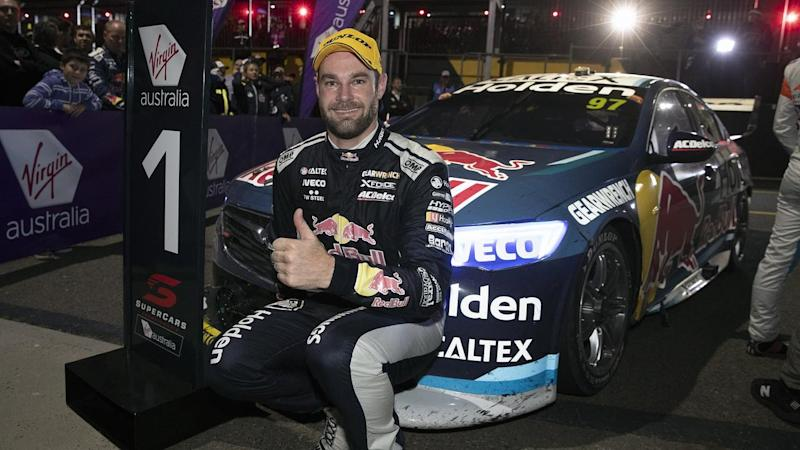 Shane van Gisbergen has won a stunning Supercars night race in Sydney with an aggressive drive