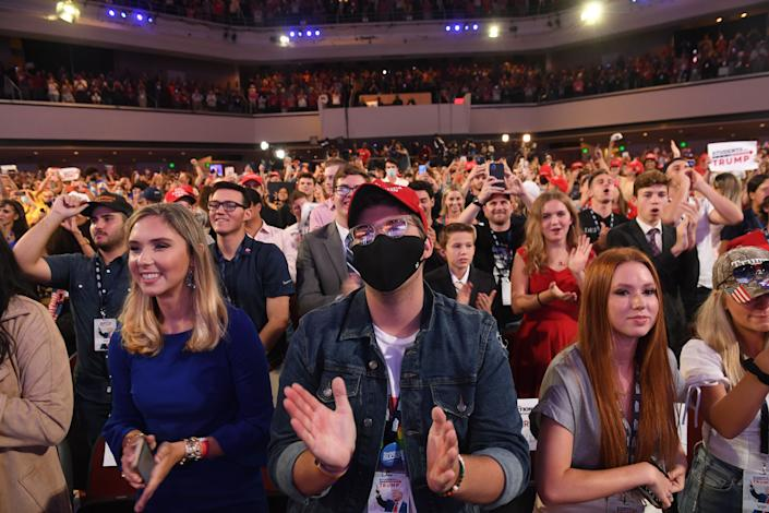 Supporters listen as President Donald Trump speaks at a Students for Trump event at the Dream City Church in Phoenix on Tuesday. (Photo: SAUL LOEB via Getty Images)