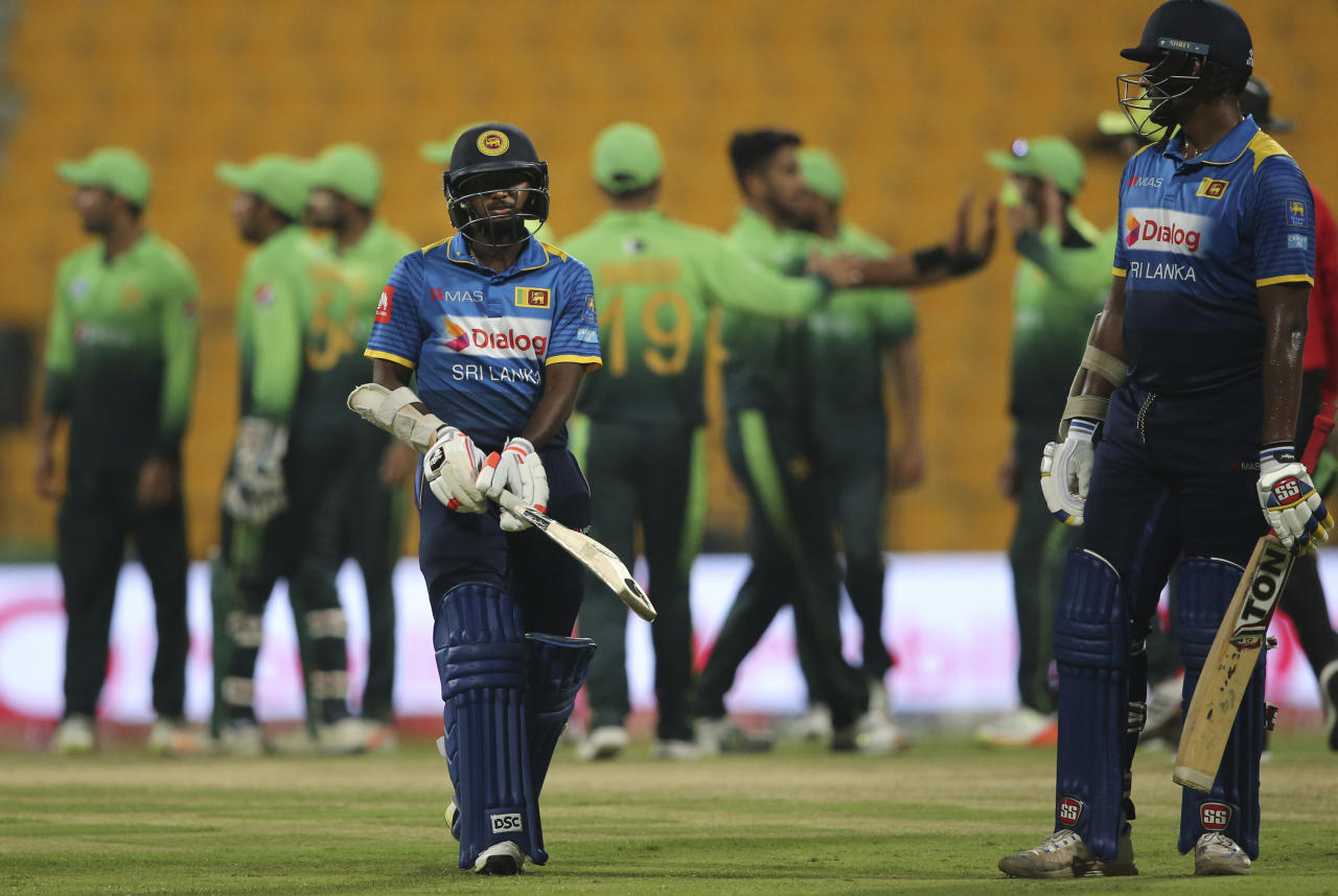 Sri Lanka's Akila Dananjaya leaves the field after his dismissal during their third ODI cricket match against Pakistan in Abu Dhabi, United Arab Emirates, Wednesday, Oct. 18, 2017. (AP Photo/Kamran Jebreili)