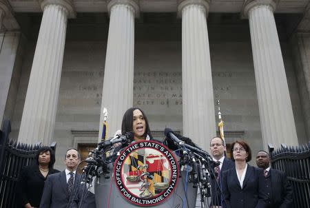 Baltimore state attorney Marilyn Mosby speaks on the Freddie Gray case in Baltimore, Maryland May 1, 2015. REUTERS/Adrees Latif