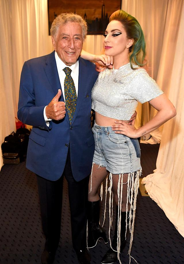 "<p>The songstress couldn't begin her concert at New York's Citi Field without hanging with her <a href=""https://www.yahoo.com/celebrity/facetime-call-lady-gaga-prince-william-sounds-like-211654050.html"" data-ylk=""slk:good friend;outcm:mb_qualified_link;_E:mb_qualified_link"" class=""link rapid-noclick-resp newsroom-embed-article"">good friend</a> Tony, now could she? During the show, Gaga also gave her frequent duet partner a shout-out in the audience about the work he's done on civil rights over the years. (Photo: Kevin Mazur/Getty Images for Live Nation) </p>"