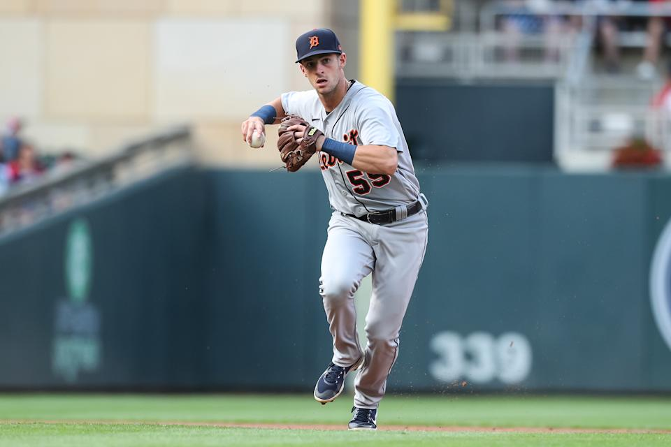 MINNEAPOLIS, MN - JULY 8: Zack Short #59 of the Detroit Tigers throws the ball to first base to get out Josh Donaldson of the Minnesota Twins in the first inning of the game at Target Field on July 8, 2021 in Minneapolis, Minnesota. The Twins defeated the Tigers 5-3. (Photo by David Berding/Getty Images)