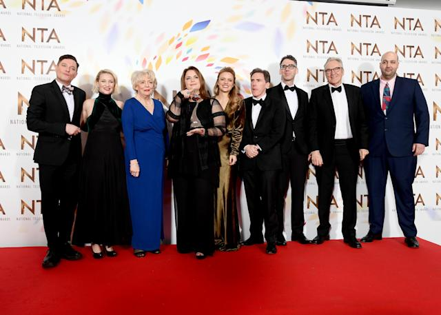 "Mathew Horne, Joanna Page, Alison Steadman, Ruth Jones, Laura Aikman, Rob Brydon, Robert Wilfort, Larry Lamb and guest, accepting the Impact Award for ""Gavin and Stacey, Christmas Special"", pose in the winners room during the National Television Awards 2020. (Photo by Gareth Cattermole/Getty Images)"