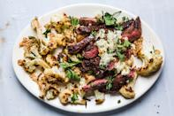 """Skirt steak is one of our favorite cuts of beef—it's flavorful, affordable, and quick-cooking. That said, it's imperative to slice it thinly against the grain for the best texture. <a href=""""https://www.bonappetit.com/recipe/skirt-steak-preserved-lemon-butter-sesame-cauliflower?mbid=synd_yahoo_rss"""" rel=""""nofollow noopener"""" target=""""_blank"""" data-ylk=""""slk:See recipe."""" class=""""link rapid-noclick-resp"""">See recipe.</a>"""