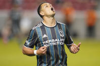 Los Angeles Galaxy's Chichartio reacts as he runs up field in the second half during an MLS soccer match against the Vancouver Whitecaps Wednesday, June 23, 2021, in Sandy, Utah. (AP Photo/Rick Bowmer)