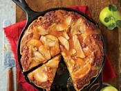 """<p>Buttery rich layers of tender cake and caramelized apples add up to one sweet combo. The secret to the crisp, flaky crust? Baking in a cast-iron skillet on a lower oven rack.</p> <p><a href=""""https://www.myrecipes.com/recipe/caramel-apple-blondie-pie"""" rel=""""nofollow noopener"""" target=""""_blank"""" data-ylk=""""slk:Caramel Apple Blondie Pie Recipe"""" class=""""link rapid-noclick-resp"""">Caramel Apple Blondie Pie Recipe</a></p>"""