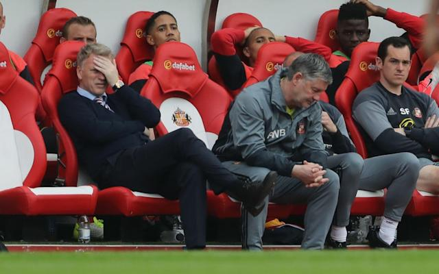 Slumped: David Moyes could hardly watch - PA