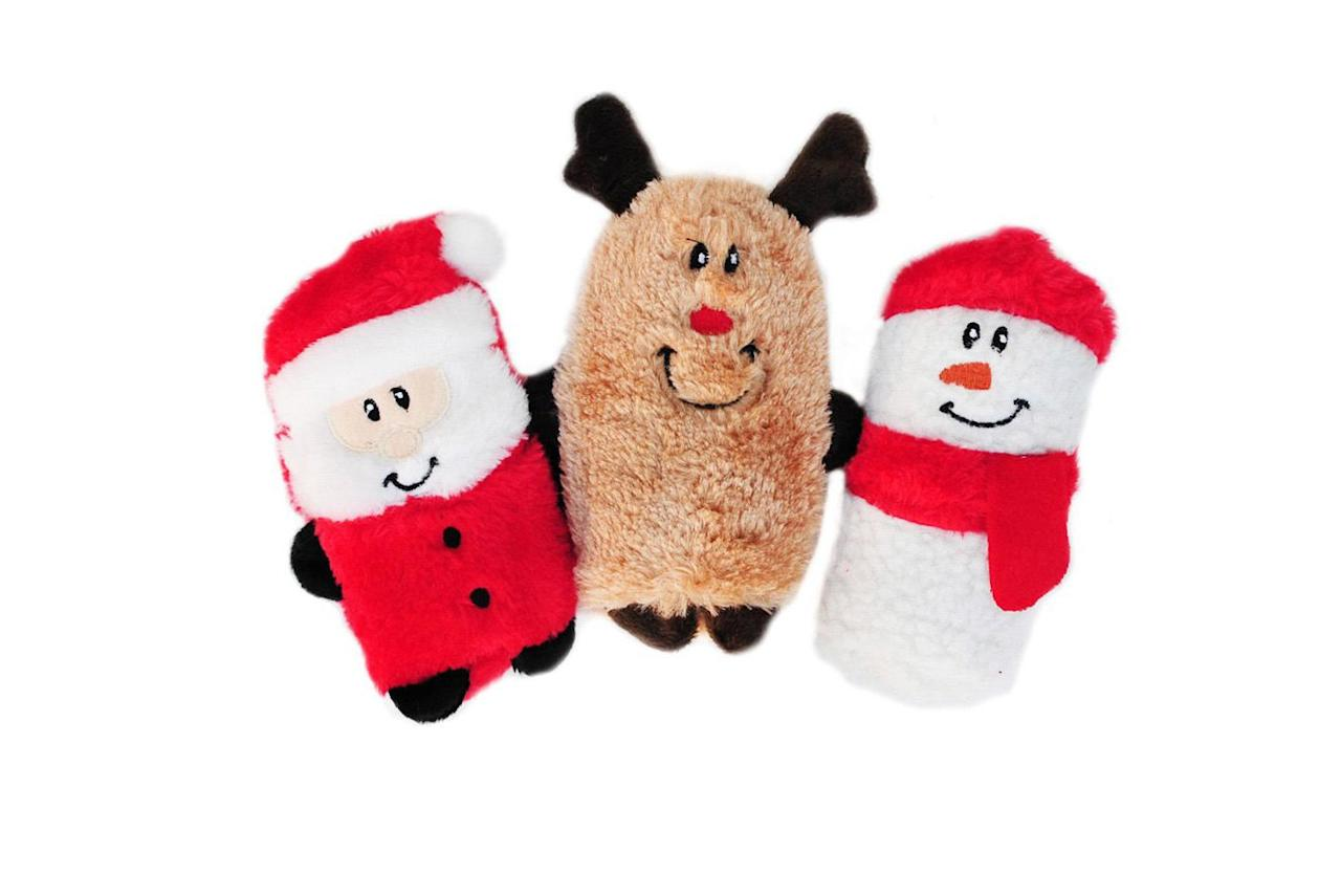 """<p><strong>BUY IT: $9.99, <a href=""""https://www.amazon.com/ZippyPaws-Holiday-Squeakie-Stuffing-Reindeer/dp/B00P0YR0UO/ref=as_li_ss_tl?ie=UTF8&linkCode=ll1&tag=slholchristmasdogtoyskrousso1119-20&linkId=63272fe5de8aa9982b42612f9aa653d9&language=en_US"""">amazon.com</a></strong></p> <p>This festive trio is just the right size for your small pooch. </p>"""