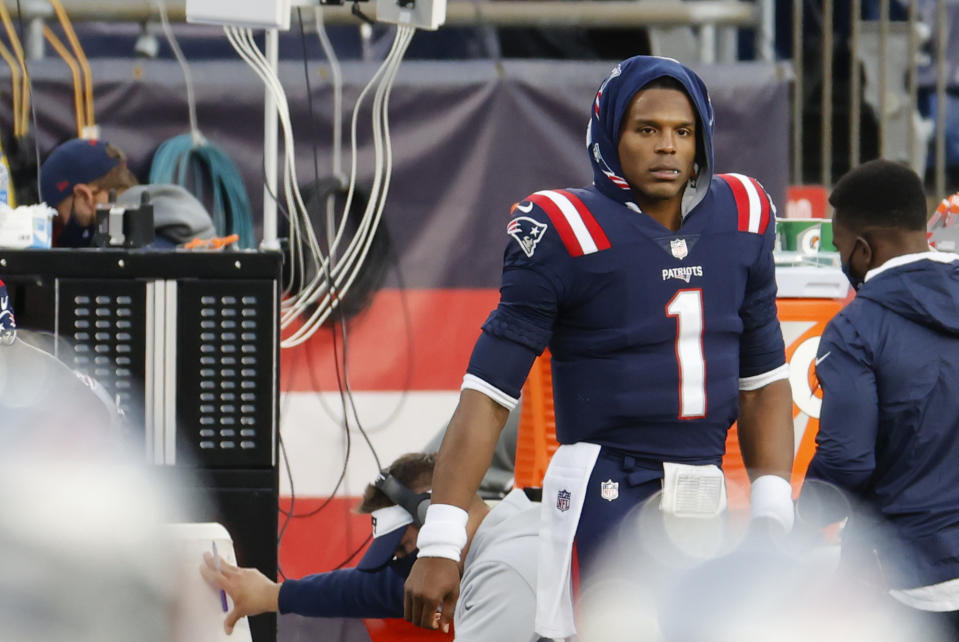 FOXBOROUGH, MA - OCTOBER 25: New England Patriots quarterback Cam Newton (1) on the sidelines during a game between the New England Patriots and the San Francisco 49ers on October 25, 2020, at Gillette Stadium in Foxborough, Massachusetts. (Photo by Fred Kfoury III/Icon Sportswire via Getty Images)
