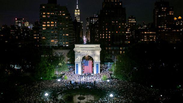 Democratic presidential candidate U.S. Sen. Elizabeth Warren addresses supporters at a rally at Washington Square Park, Monday, Sept. 16, 2019, in New York. (AP Photo/Craig Ruttle) (The Associated Press)