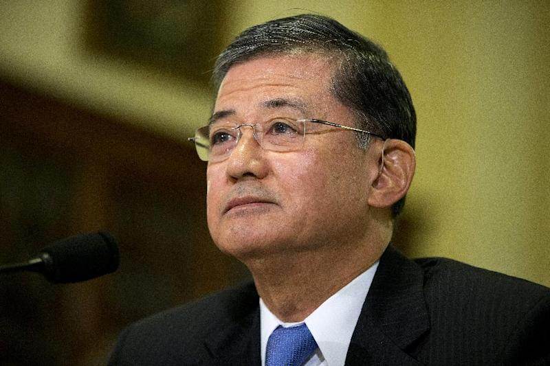 Veterans Affairs Secretary Eric Shinseki listens as he testifies on Capitol Hill in Washington, Wednesday, Oct. 9, 2013, before the House Veterans Affairs Committee hearing on the effects the government shutdown is having on benefits and services to veterans. About 3.8 million veterans will not receive disability compensation next month if the partial government shutdown continues into late October, Shinseki told lawmakers Wednesday. Some 315,000 veterans and 202,000 surviving spouses and dependents will see pension payments stopped. (AP Photo/ Evan Vucci)