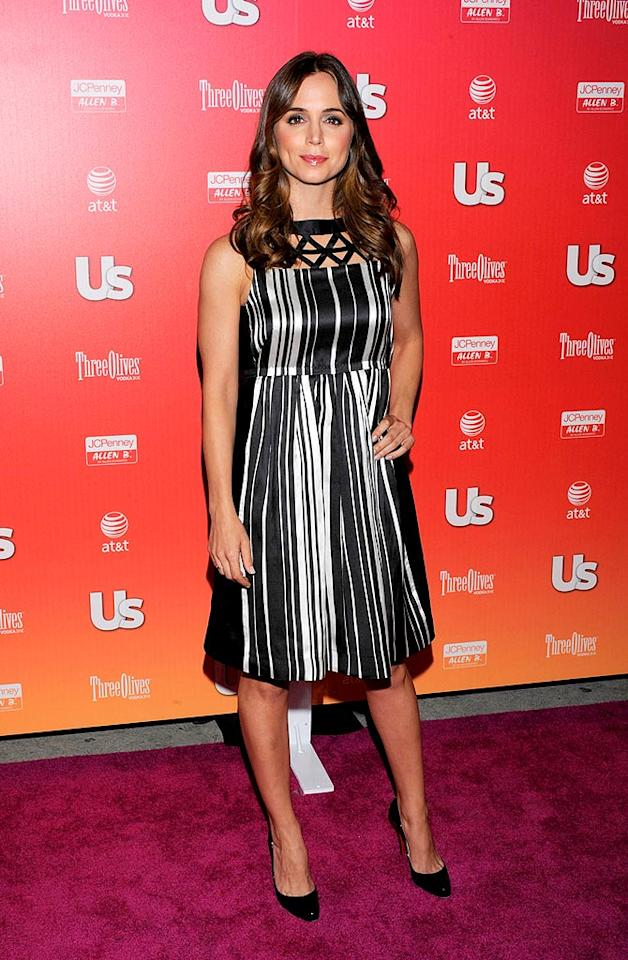 """""""Dollhouse"""" star Eliza Dushku was much more subdued in a striped cocktail frock. Todd Williamson/<a href=""""http://www.wireimage.com"""" target=""""new"""">WireImage.com</a> - April 22, 2009"""