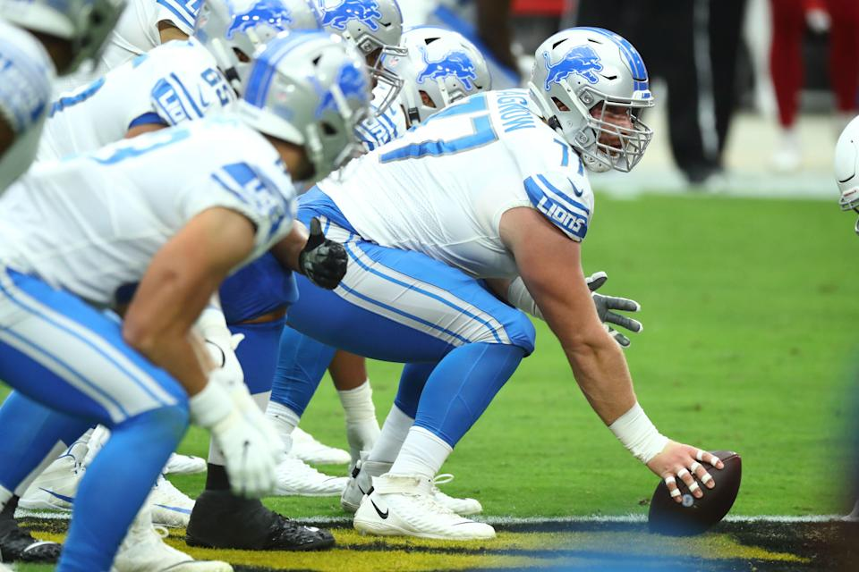 Detroit Lions center Frank Ragnow plays against the Arizona Cardinals in the first quarter Sept. 27, 2020 in Glendale, Ariz.