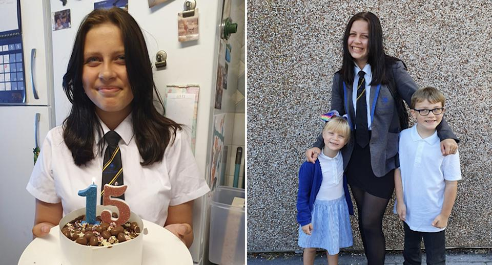 Jorja Halliday, 15, pictured left with a birthday cake and with her two siblings, Daisie and Kallum, on the right.