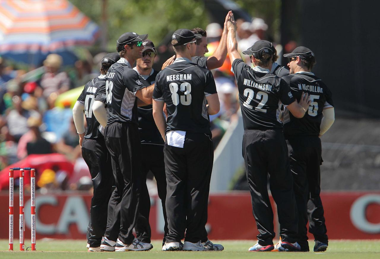 PAARL, SOUTH AFRICA - JANUARY 19:  New Zealand celebrates the wicket of Graeme Smith during the 1st One Day International match between South Africa and New Zealand at Boland Park on January 19, 2013 in Paarl, South Africa (Photo by Carl Fourie/Gallo Images/Getty Images)