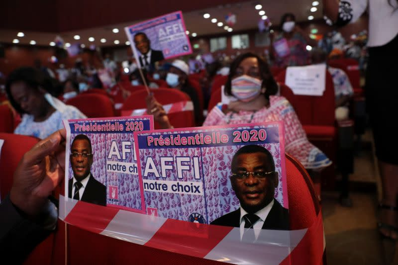 Supporters attend the 5th congress of FPI (Ivorian Popular Front) to select their candidate for October's presidential election in Abidjan