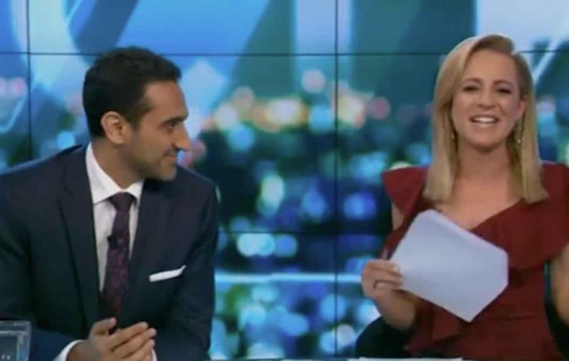 Waleed Aly stuck up for Rachel as Carrie told the hilarious story. Source: Ten