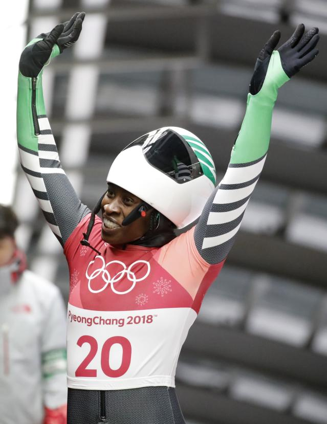 Pyeongchang 2018 Winter Olympics Skeleton - Pyeongchang 2018 Winter Olympics - Women's Finals - Olympic Sliding Centre - Pyeongchang, South Korea - February 17, 2018 - Simidele Adeagbo of Nigeria reacts. REUTERS/Arnd Wiegmann