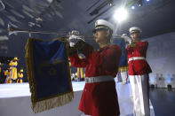 South Korean military band perform during the celebration of 75th anniversary of the Liberation Day at Dongdaemun Design Plaza in Seoul Saturday, Aug. 15, 2020. South Korea marked its 75th National Liberation Day on Saturday, which celebrates its independence from Japanese colonial rule following the end of World War II after Japan surrendered. (Chung Sung-jun/Pool Photo via AP)
