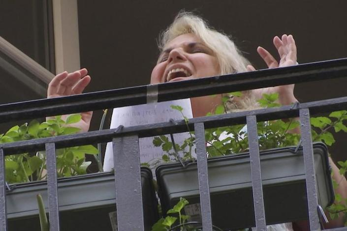 """Soprano Veronica Antonelli sings """"Amazing Grace"""" from her balcony in Paris despite her continuing struggles with complications related to COVID-19."""