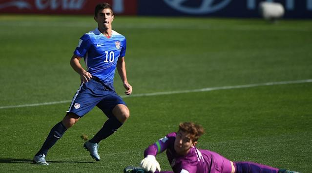 <p>Christian Pulisic of the USA scores the opening goal during the FIFA U-17 Men's World Cup 2015 group A match between USA and Croatia at Estadio Sausalito on Oct. 20, 2015 in Vina del Mar, Chile.</p>