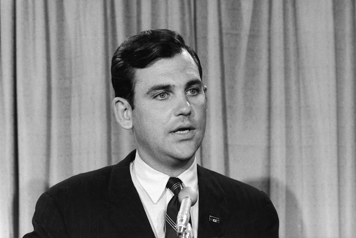 UNDATED FILE PHOTO: Ron Ziegler, Press Secretary to U.S. President Richard Nixon, speaks during a news conference in 1968. Ziegler, who was famous for referring to the Watergate break-in as a 'third-rate burglary,' died of a heart attack at his home February 10, 2003 in Coronado, California. He was 63-years-old. (Photo by Getty Images)
