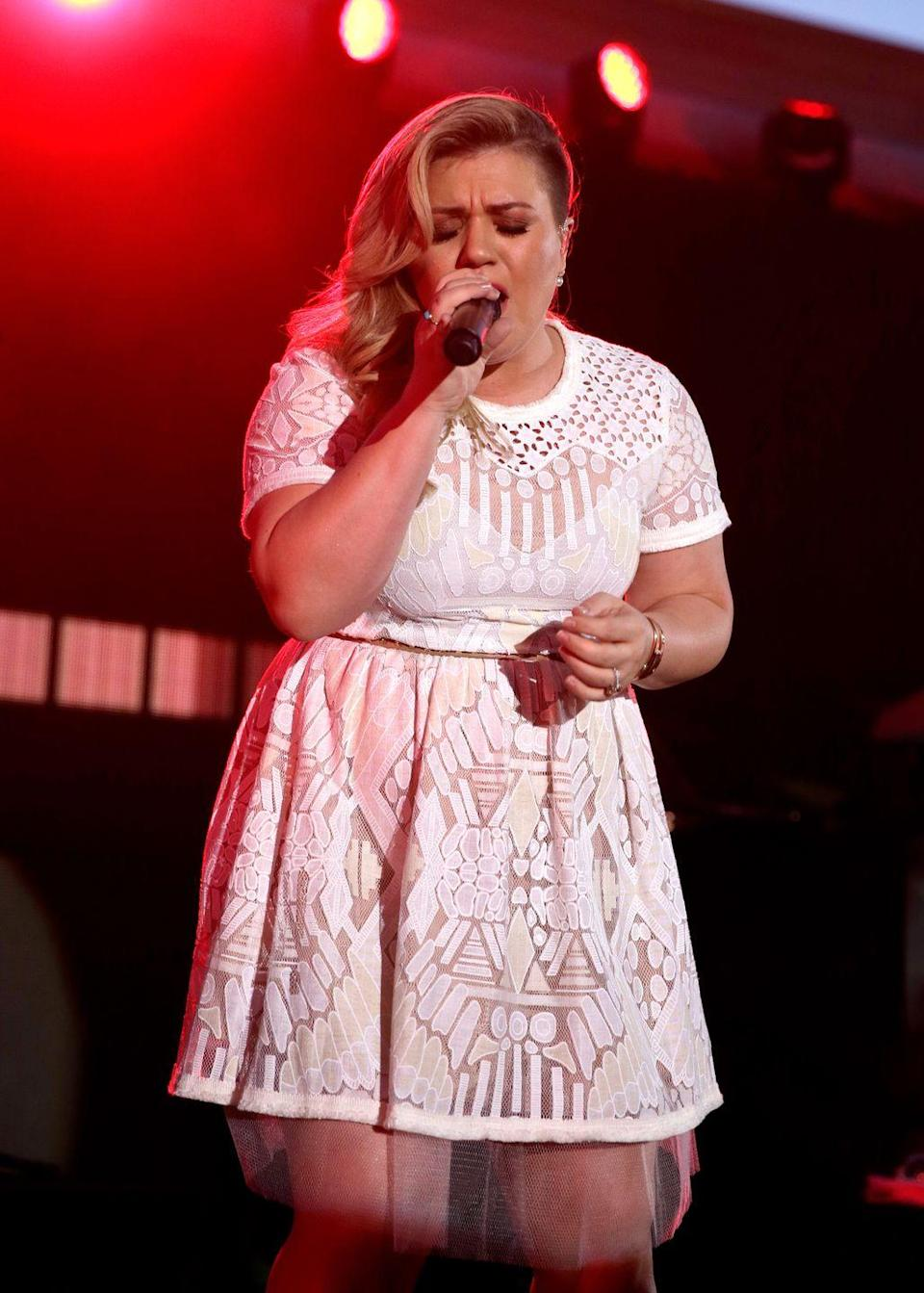 """<p><a href=""""https://www.goodhousekeeping.com/life/entertainment/a31994802/the-voice-2020-kelly-clarkson-coaches-gigi-reaction/"""" rel=""""nofollow noopener"""" target=""""_blank"""" data-ylk=""""slk:Kelly Clarkson"""" class=""""link rapid-noclick-resp"""">Kelly Clarkson</a>'s 2015 hit, """"Piece by Piece"""" is also about her childhood and her parents ― although it's through a different lens this time. She was inspired by her feelings towards her own daughter, River. She told <em><a href=""""https://www.glamour.com/story/kelly-clarkson-piece-by-piece"""" rel=""""nofollow noopener"""" target=""""_blank"""" data-ylk=""""slk:Glamour"""" class=""""link rapid-noclick-resp"""">Glamour</a></em>, """"It's a positive song, even though I know it sounds sad. I don't know what my father went through as a child, and I don't know why he left and made the decisions he made, but everyone's human."""" </p>"""