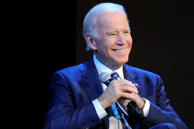 Biden at a Nov. 13 event in New York, where he was asked about his handling of Anita Hill's testimony. (Craig Barritt via Getty Images)